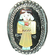 Vintage Ring Sterling Miniature Figure Inlaid