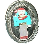 Vintage Sterling Ring Miniature Figure Inlay