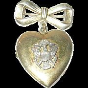 Vintage Sweetheart Locket Brooch Sterling Vermeil