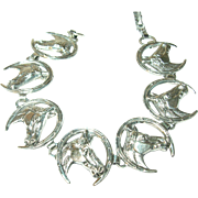 Vintage Link Bracelet Sterling  Horseshoe Horse's Heads 3-D