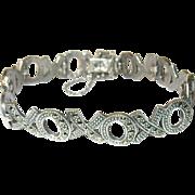Vintage Bracelet Sterling Links Hugs Kisses Marcasite's