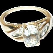 Vintage 14K Ring Diamond Faux Aquamarine