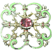 Antique Hungarian 800 Coin Silver Brooch