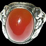 Art Nouveau Sterling Ring Cabochon Carnelian