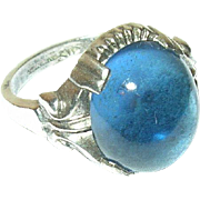 Vintage Sterling Ring Cabochon Glass Stone