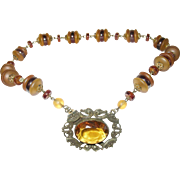 Vintage Czechoslovakian Art Glass Pendant Necklace