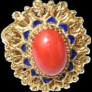 Vintage 18K Ring Cabochon Coral Enamel