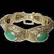 Vintage Bracelet Chinese Sterling Vermeil Cabochon Jade 1930's