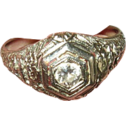 Art Deco 18K Diamond Ring Filigree Work