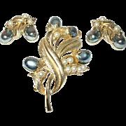 Vintage Brooch Earring Set by Tortolani