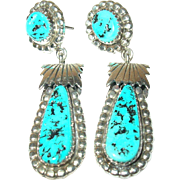 Vintage Earrings Sterling Turquoise Drops by Thomas Francisco Navajo
