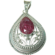 Vintage Sterling Ruby Pendant Open Work