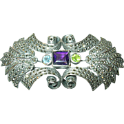 Vintage Sterling Lg Brooch Pendant  Marcasite Multicolored Stones