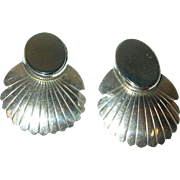 Vintage Earrings Sterling Hematite