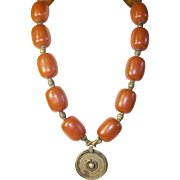 Antique Necklace Butterscotch Amber 202 Grams