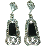 Art Deco Earrings Sterling Onyx Marcasite Drops