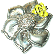Vintage Brooch Sterling Flower Enamel Bumble Bee
