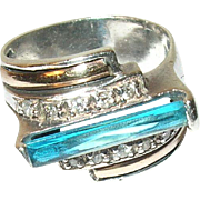 Art Deco Ring Sterling 18K