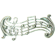 Vintage Brooch Sterling Musical Notes by Beau