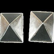 Vintage Earrings Sterling Pyramid Shape