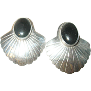 Vintage Earrings Sterling Cabochon Onyx