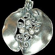 Vintage Pendant Sterling Faux Diamonds Open Work