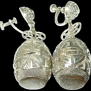 Vintage Drop Earrings Sterling Oriental