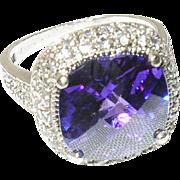 Vintage Sterling Faux Stone Ring Modernist Design