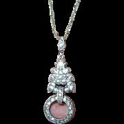 Art Deco Pendant Necklace Sterling Faux Diamonds