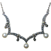 Vintage Necklace Sterling Marcasite Drops