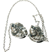 Art Nouveau Sterling Sweater Clips Poppies