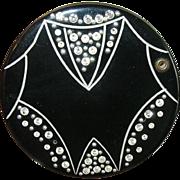 Art Deco Compact Rhinestone Black Lacquer