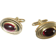 Vintage Cufflinks Gold Filled  Red Glass Cabochon Stones