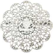 Vintage Round Sterling Brooch Filigree Design
