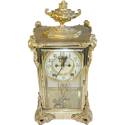 Antique Ansonia Bronze Crystal Regulator Clock