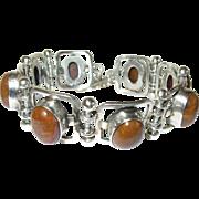 Vintage Link Bracelet Sterling Cabochon Stones