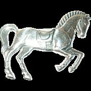 Vintage Brooch Sterling 3D Horse
