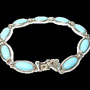 Vintage Sterling Turquoise Link Bracelet
