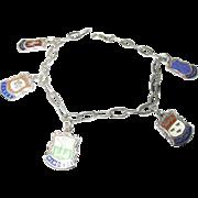Vintage Sterling Link Charm Bracelet  English Cities