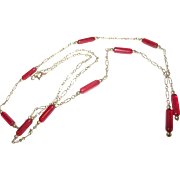 Vintage Necklace Gold Fill Red Glass Bead Drop