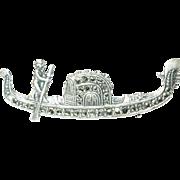 Vintage Coin Silver Gondola Brooch