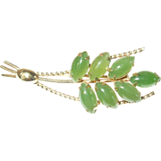 Vintage Gold Filled Jade Brooch