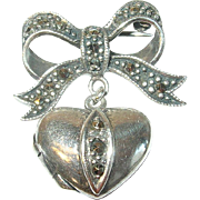 Vintage Brooch Locket Sterling Marcasite