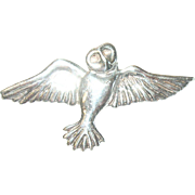 Vintage Brooch Sterling Owl