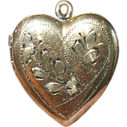 Vintage Locket Pendant Heart Gold Filled