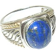 Vintage Ring Sterling Cabochon Lapis