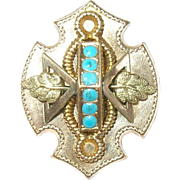 Victorian Pendant Slide Rolled Gold Turquoise