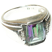 Vintage Ring Sterling Rainbow Topaz Diamonds