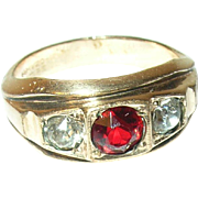 Vintage Ring Gold Filled Faux Ruby/Diamonds