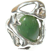 Vintage Ring Modernist Sterling Jade